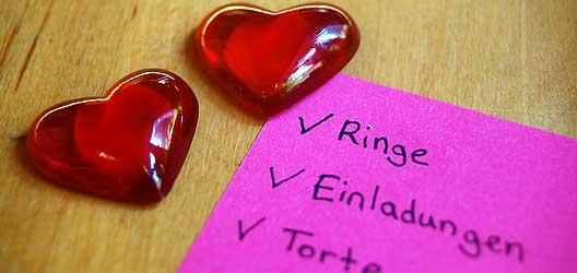 Checkliste Heirat - 6 Monate bis zur Hochzeit